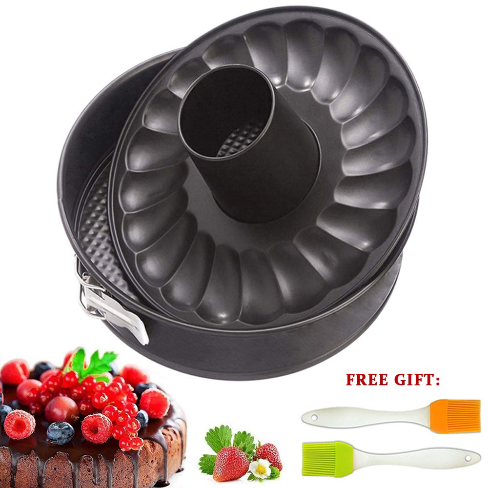 7 inch Springform Cake Pan Cheesecake Bakeware Non Stick Baking for Pressure Cooker 5 6 8 Qt with Leakproof 2 Removable Bottom and Silicone Brush by Fish&Fairy