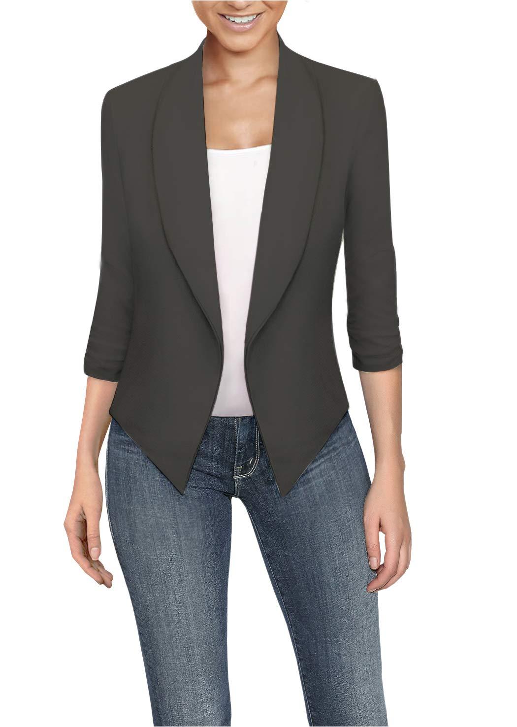 HyBrid & Company Womens High Low Office Open Front Blazer JK1133X E3400 Slate 3X