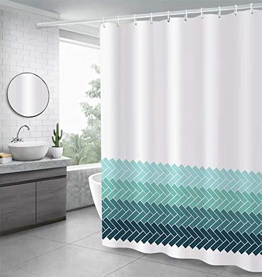 Ombre Shower Curtain Fabric Bathroom Decor Set with Hooks 4 Sizes Available