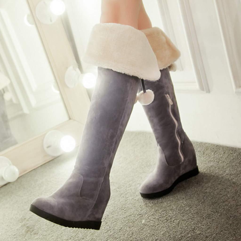 Logobeing Botas de Mujer Invierno Botas de Cu/ña Altas Zapatos Tacones Cuadrados Vintage Mujer Botas