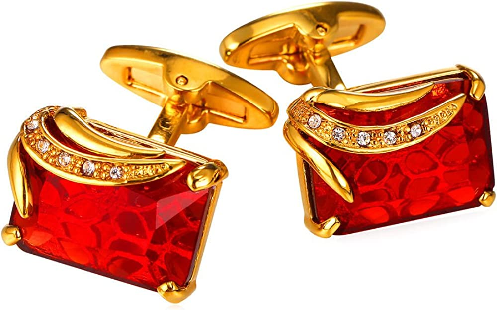 U7 Crystal Cufflinks Women Men Metal Gold/Platinum Plated Fancy Stone Cuff Links