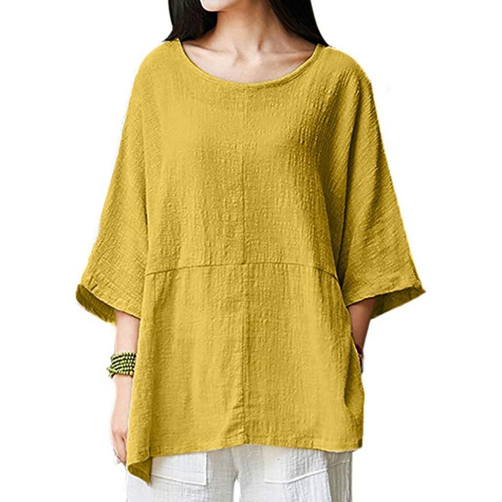 Hauts Rétro, YUYOUG Femmes T-Shirts Manche 3/4 Coton Lin Chemise Chic Simple Haut Tops Tunique