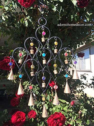 Iron Drop Windchime Bells Bead Recycled Metal Rustic Garden Decor Indoor Outdoor Drop Chimes