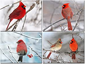 sechars - 4 Piece Modern Canvas Painting Wall Art Birds Red Cardinal on Snowy Branch Pictures Print for Living Room Decor Winter Landscape Poster Christmas Gift Gallery Wrap Ready to Hang