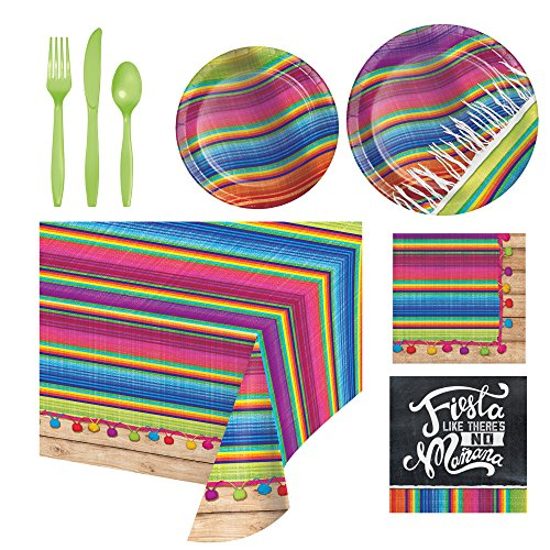 Serape Colorful Fiesta Party Supply Pack Serves 8- Bundle of 6 Items Includes-Table-cover, Utensils, Dinner & Dessert Plates, Dinner & Beverage (Fiesta Dessert)