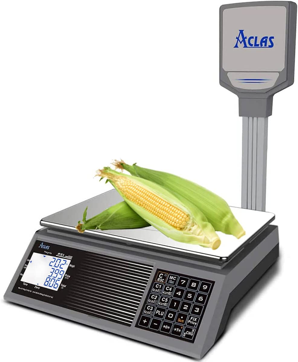 ACLAS Digital Price Computing Scale with Display Pole NTEP Certified Legal for Trade 30lb 0.01lb Commercial Retail Scales w/ LCD Dual Screen Displays for Food, Meat, Deli, Fruit Market Battery Powered