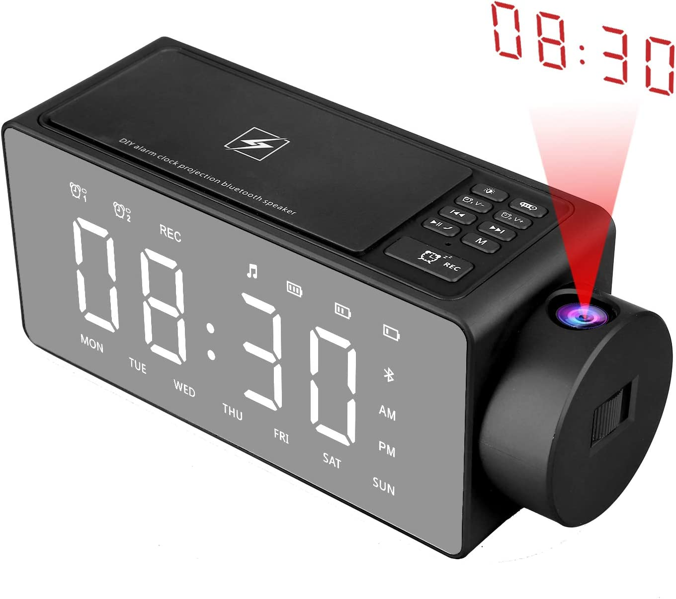 Htterino Projection Alarm Clock Bluetooth Speaker with Wireless Charging DIY Ringtone,One-Click Snooze,Bluetooth Call Speaker,FM Radio AUX, TF Card Input (Color:Black)