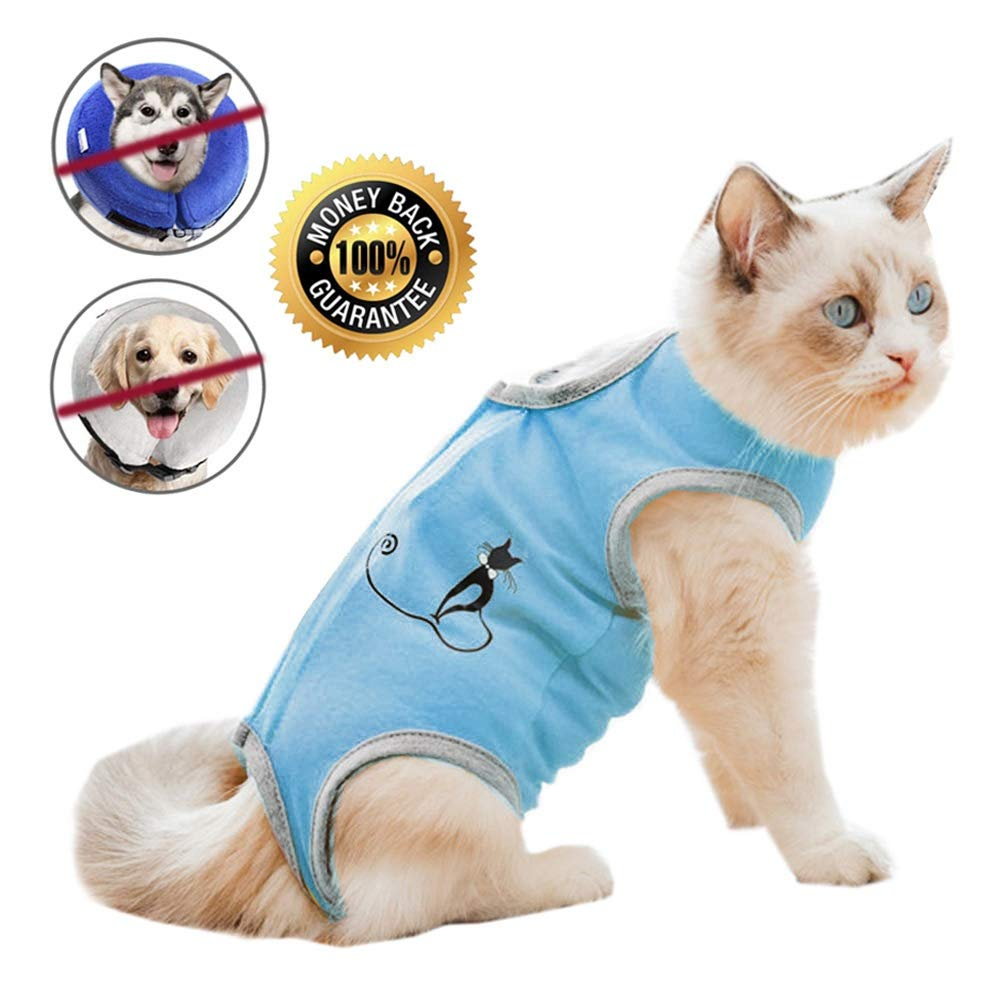 Coppthinktu Cat Professional Recovery Suit for Abdominal Wounds or Skin Diseases, E-Collar Alternative for Cats and Dogs, After Surgery Wear, Pajama Suit by Coppthinktu