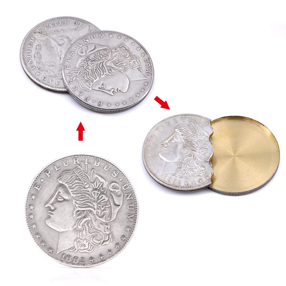Super Flipper Coin Morgan/Half Dollar Coin Magic Tricks Professional Funny Trick for Kids Coin into Bottle Accessories (Morgan Flipper Coin)