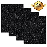 MiPremium Glitter Black Heat Transfer Vinyl, Glitter HTV Iron On Vinyl (Pack of 4 Sheets), for T Shirts Sports Clothing other garments & fabrics, Easy Cut, Weed & Press Black Glitter HTV Vinyl (BLACK)