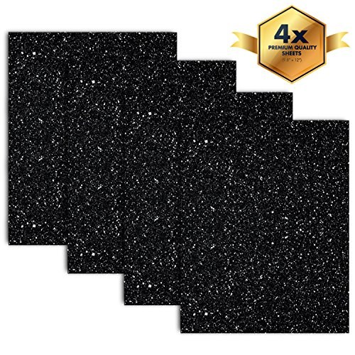 MiPremium Glitter Black Heat Transfer Vinyl, Glitter HTV Iron On Vinyl (Pack of 4 Sheets), for T Shirts Sports Clothing other garments & fabrics, Easy Cut, Weed & Press Black Glitter HTV Vinyl - Pack Die Multi Cut