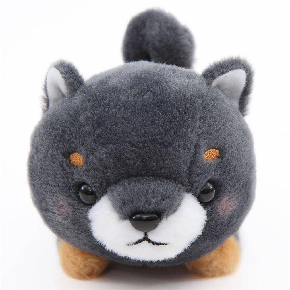 Kawaiiダークグレー犬オレンジスカーフMameshiba San Kyodai Plush Toy日本 B01MV48U7H