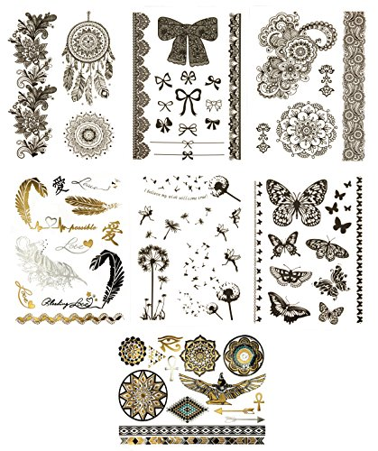 Premium Black Temporary Tattoos - 75+ Boho & Stylish Designs - Feathers, Roses, Butterflies, Dream Catcher, Bows & More (Marilyn (Tribal Print Tattoos)