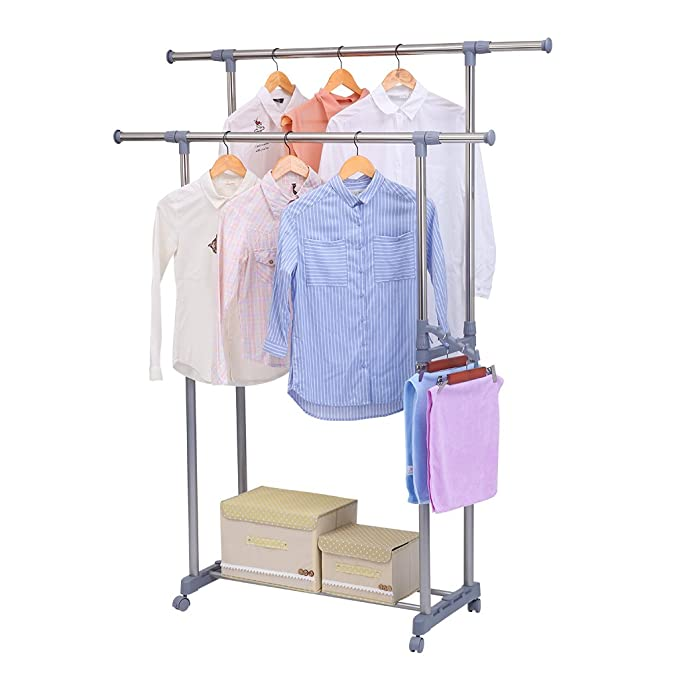 Excelvan Double Rail Adjustable Rolling Clothing Garment Rack with Side Rods, Swing Arm Holders and Wheels