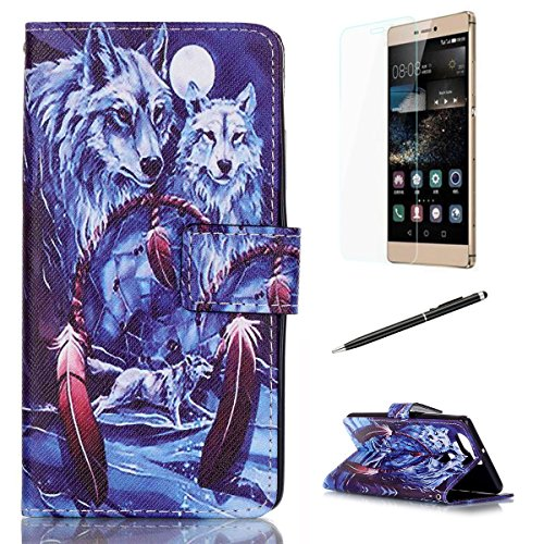 Huawei P9 Cover[Free Tempered Glass Screen Protector + Touch Pen] - CasesHome Premium PU Leather Wallet Case Flip Book Style with Stand Function, Card Slots, Magnetic Closure-Snow - Zac Glasses Efron