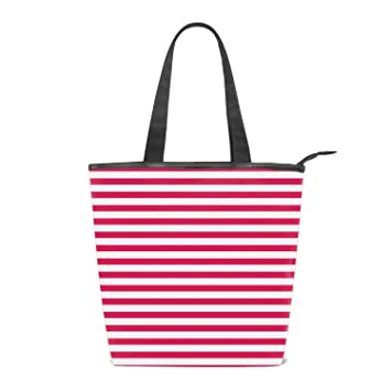70946ce4c Amazon.com : Red Stripes Canvas Tote Bag Reusable with Inside Pocket Beach  Weekender Travel Luggage Totes : Beauty