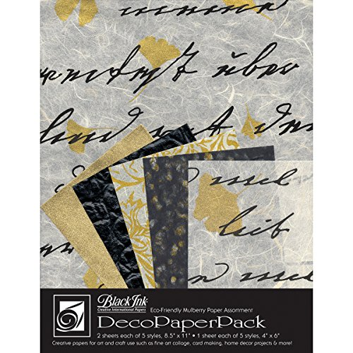 Black Ink Decorative Papers - Black Ink Decorative Paper Pack, 8.5 by 11-Inch, Ebony and Ivory