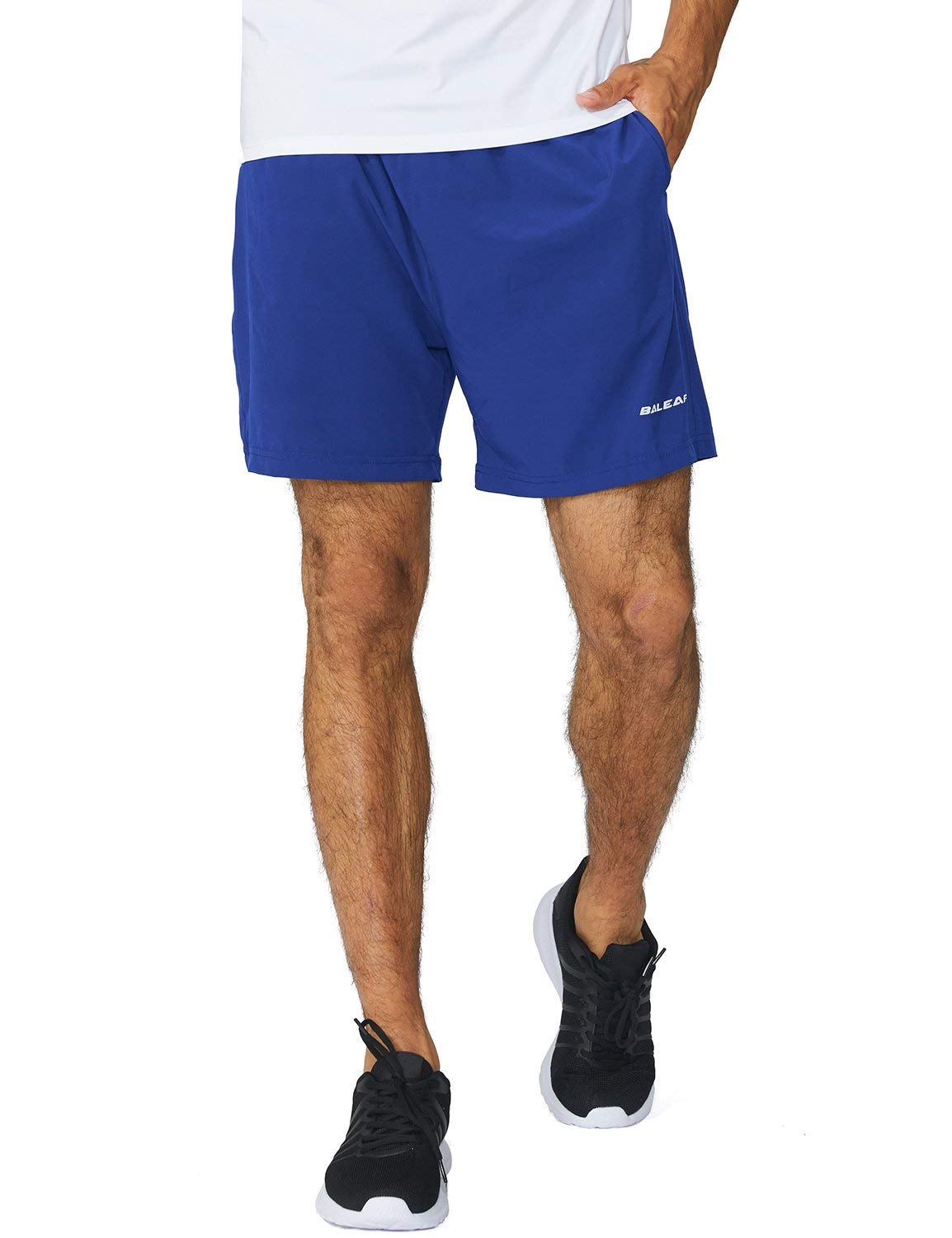 Baleaf Men's Woven 5 Inches Running Workout Shorts Zipper Pocket Royal Blue Size XXL by Baleaf