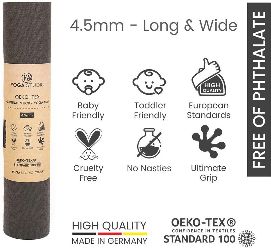 Yoga Studio Oeko-Tex Original Sticky Long /& Wide Yoga Mat 80x200x0.45cm