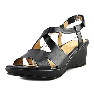 Amazon.com | Naturalizer Womens Villette Leather Open Toe Casual Slingback  Sandals | Platforms & Wedges
