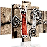 Feeby. Multipart Canvas - 5 panels - Wall Art Picture, Image Printed on Canvas, 5 parts, Type A, 150x100 cm, ABSTRACTION, WOMEN, SHAMANS, PATTERNS, AFRICA, BROWN, RED, WHITE