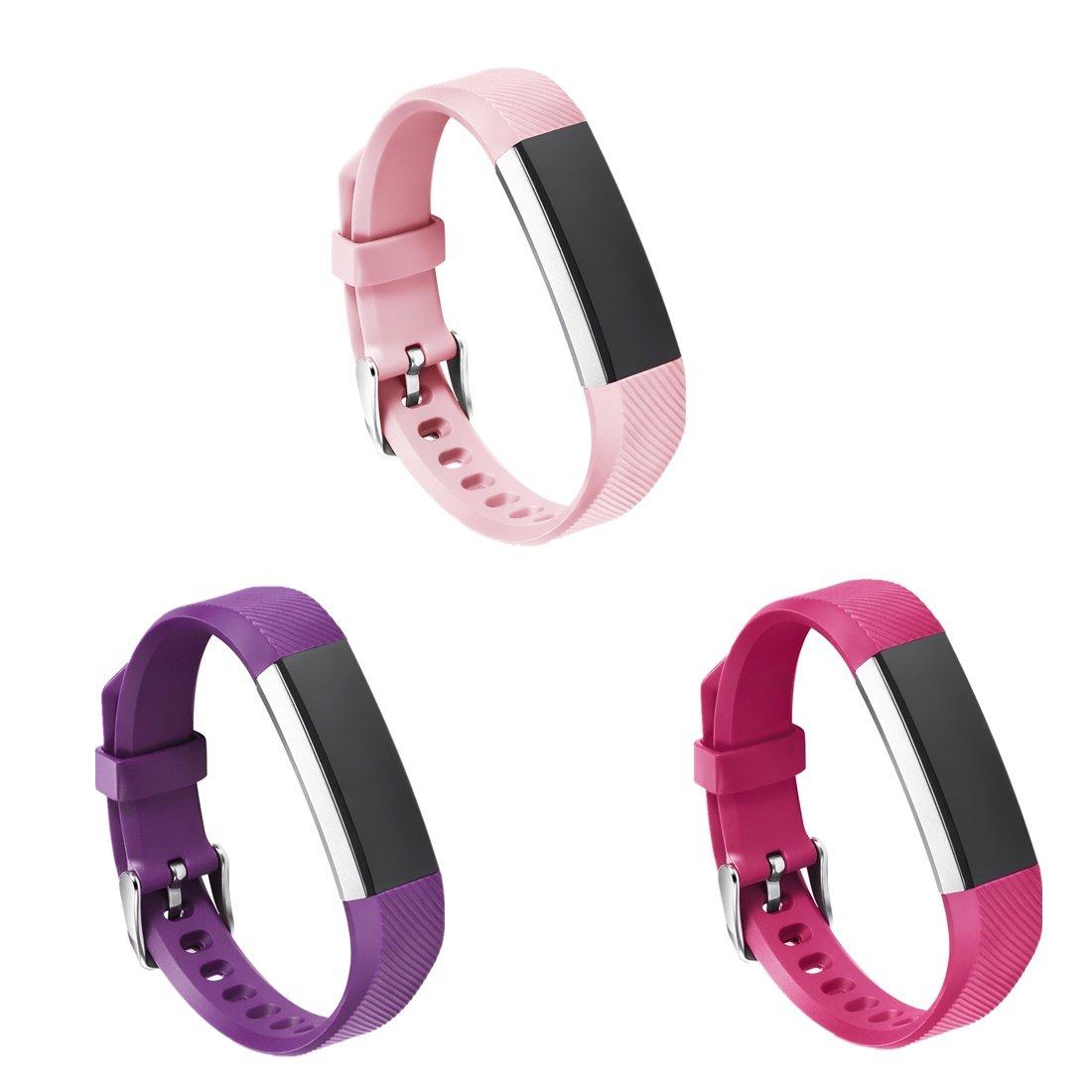 gincoband 3pcs Fitbit ALTA HRバンド、Fitbit ALTA交換用バンドfor Fitbit ALTA HR with Watchバックル B06XFRFCMJ Purple+Red+Nude Pink 3PCS Buckle Design