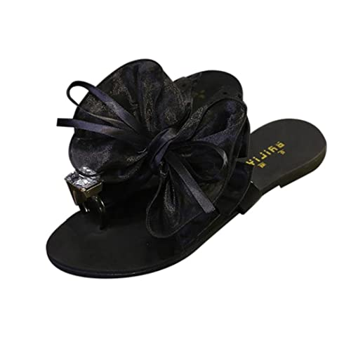 1192aa1246819a Women Lady Bowknot Flat Low Heel Open-Toe Sandals Slippers Beach Shoes  Dressy Casual de