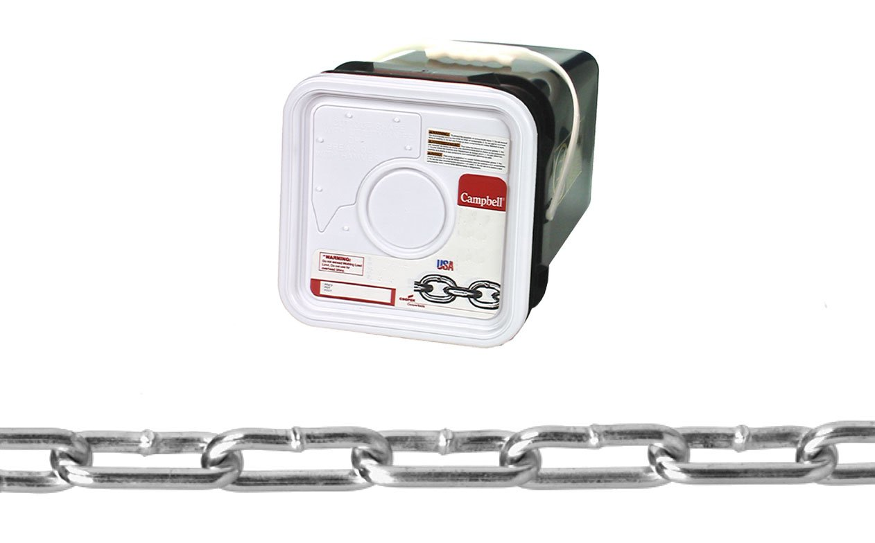 Campbell 0332426 Low Carbon Steel Straight Link Coil Chain in Square Pail, Zinc Plated, 2/0 Trade, 0.18'' Diameter, 225' Length, 520 lbs Load Capacity