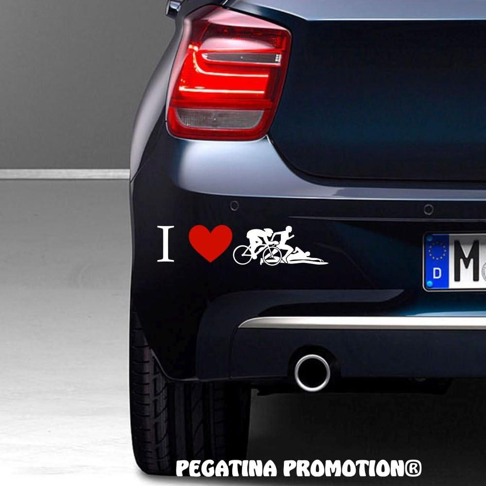 Triathlon Athleten I Love Aufkleber 20 cm Herz Liebe Hobby Sticker Auto Lack Scheibe Autoaufkleber von Pegatina Promotion /®