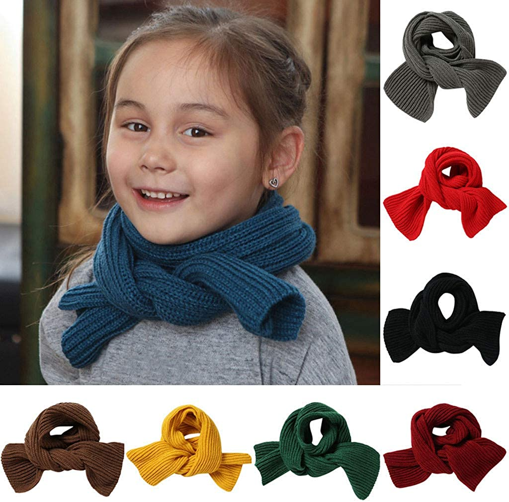 14Cm Knitted Winter Warm Solid Color Kids Unisex Straight Neckerchiefs Amaone Toddlers Scarf Boys Girls 118