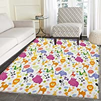 Cartoon Animal Area Rug Carpet Love of Nature Theme Children Kids Pattern with Exotic Zoo Comic Characters Customize door mats for home Mat 4x6 Multicolor