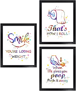 Dignovel Studios Unframed (Set of 3) 8X10 Funny Bathroom Signs That is How I Roll Funny Watercolor Wall Art Prints dnc19