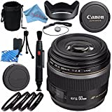 Canon EF-S 60mm f/2.8 Macro USM Lens 0284B002 + 52mm Macro Close Up Kit + Lens Cleaning Kit + Lens Pouch + Lens Pen Cleaner + 52mm Tulip Lens Hood + Fibercloth Bundle