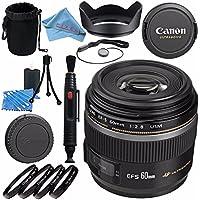 Canon EF-S 60mm f/2.8 Macro USM Lens 0284B002 + 52mm Macro Close Up Kit + Lens Cleaning Kit + Lens Pouch + Lens Pen Cleaner + 52mm Tulip Lens Hood + Fibercloth Bundle