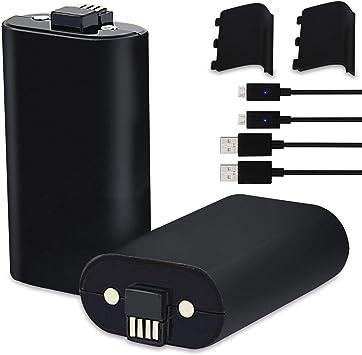 Y Team - Juego de 2 baterías Recargables para Mando de Xbox One, Xbox One, Xbox One, Xbox One y Xbox One X 1200 mAh con Cable de Carga: Amazon.es: Electrónica