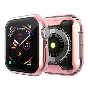Leotop Compatible With Apple Watch Case 44mm 40mm, Soft Flexible Tpu Plated Protector Bumper Shiny Cover Lightweight Thin Guard Shockproof Frame Compatible For I Watch Series 4 (Rose Gold, 40mm) by Leotop