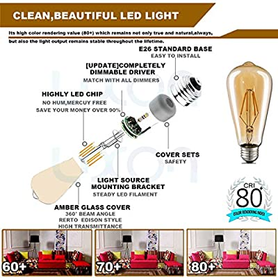 6-Pack Edison LED Light Bulb Dimmable 2700K 4W (40W Equivalent)