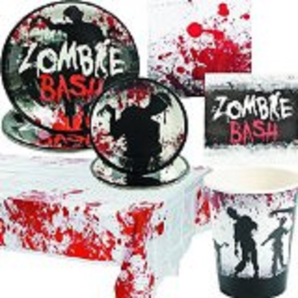 amazoncom zombie bash party pack includes napkins plates cups and table cover for 16 toys games - Zombie Party Supplies