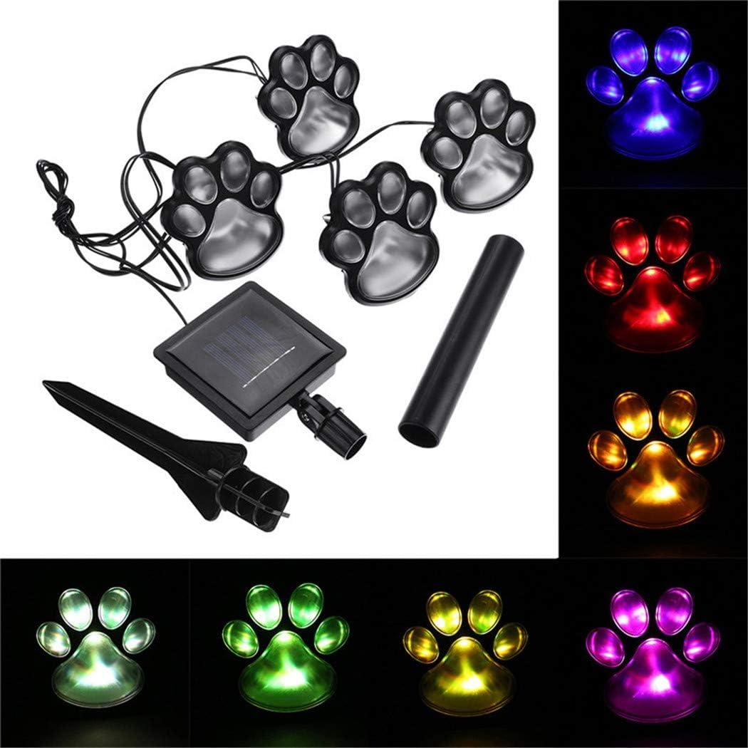 Camp Dienlk 4 Piece Solar Powered LED Lights,Dog Pet Animal Paws Lamp Outdoor Landscape Lighting for Lawn Decor Gardening Multicolor