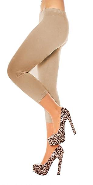 Easy Young Fashion Damen Basic Sommer Jersey Capri 3 4 Leggings Leggins  Unterzieh Hose Kurz 75f3c6543a