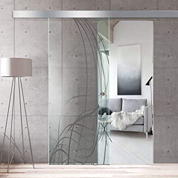 Modern Glass Art - Puerta de cristal deslizante para Boss de diseño interior - Cristal de seguridad templado