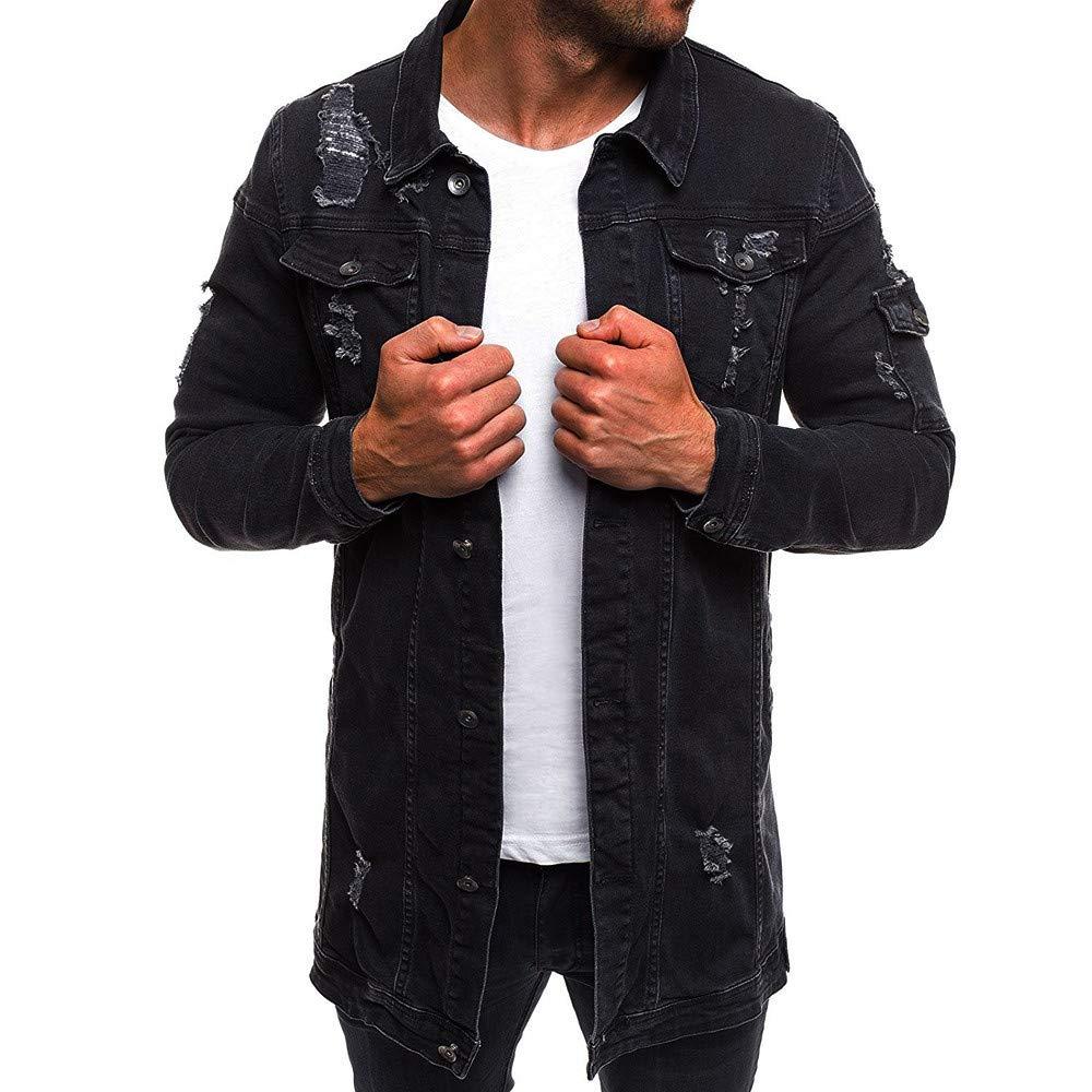 Faionny Mens Denim Jacket Solid Windbreaker Button Parka Vintage Jacket Coat Wash Distressed Denim Coat Autumn Winter Outwear