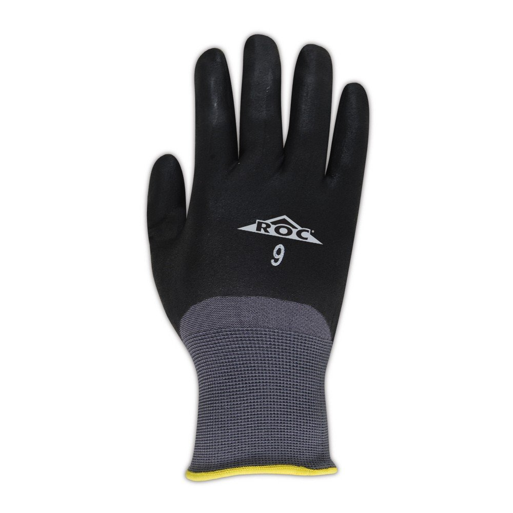 Size 7 12 Pair 8-1//2 Length MAGID GP110 ROC Nylon Blended Nitrile Coating Medium Weight Glove with Knit Wrist Cuff Gray Work