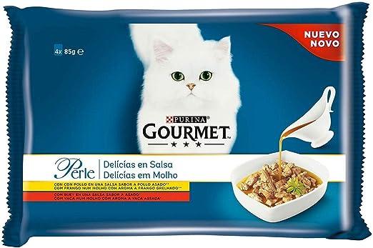 Purina Gourmet Perle Delicias en Salsa comida para gato con Pollo y Buey 12 x [4 x 85 g]: Amazon.es: Productos para mascotas