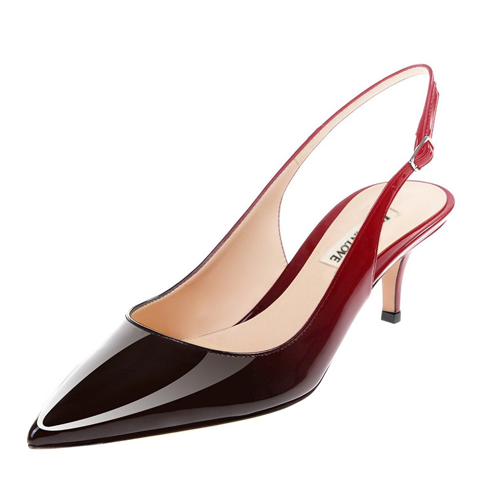June in Love Women's Low Heels Pumps Pointy Toe Slingback Shoes for Usual Daily Wear Red Black 7.5 US