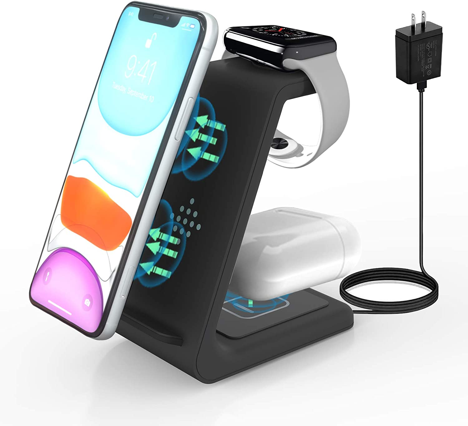 Wireless Charger,ZHIKE 3 in 1 Qi-Certified 10W Fast Charging Station for Apple iWatch Series 6/5/4/3/2/1,AirPods,Wireless Charging Stand Compatible with iPhone 11 Series/XS MAX/XR/Samsung(With A Plug)
