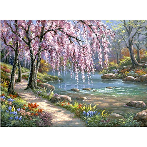 Moohue Needlework Counted Cross Stitch Kits Trees and River 14CT Cross Stitch Fabric DMC Cotton Thread Art Crafts (Trees and River)