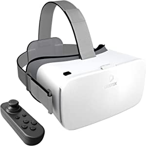 DESTEK 2021 V5 VR Headset, 110°FOV Anti-Blue Light Eye Protected Virtual Reality Headset w/Bluetooth Controller for iPhone 12/11/X/Xs,Samsung A71/S21/S20 FE/S10/Note 10,Phones w/4.7-6.8in Screen White