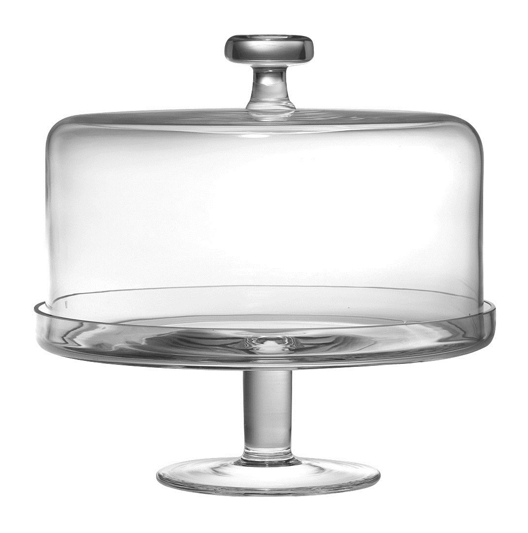 Barski Handmade Glass 2 pc Set Footed Cake Plate with Dome 12H 11D inside dome is 10.25D Clear Made in Europe