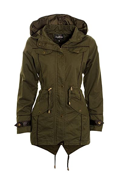 Ladies Khaki Canvas Parka Jacket Womens Light weight Parka Coat ...